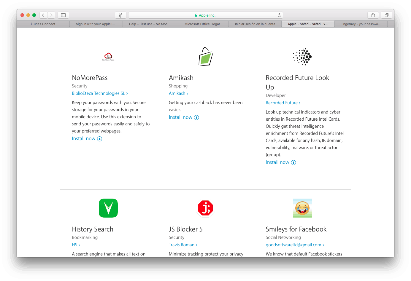 NoMorePass in Apple's Safari extensions page