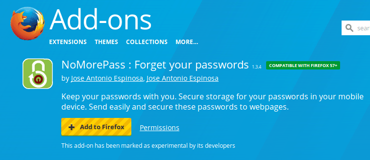 Nomorepass officially on Mozilla